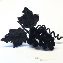 Cluster of Blue Black Velvet Grapes Hat Trim